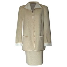 Vintage Louis Feraud Tan Suit with Gold Threads