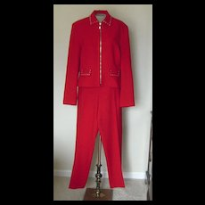 Vintage Red Wool Pant Suit with Silver Accents