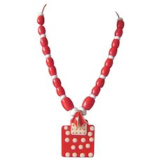 Original Red and White Beaded Necklace