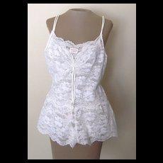 Vintage Odette Barsa White Lace Teddy