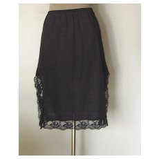 Vintage Black Half Slip with 14 inch Black Lace on Both Sides