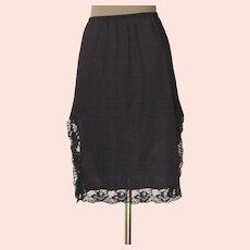 Vintage Black Half Slip with 14 inch Black Lace on Both Sides
