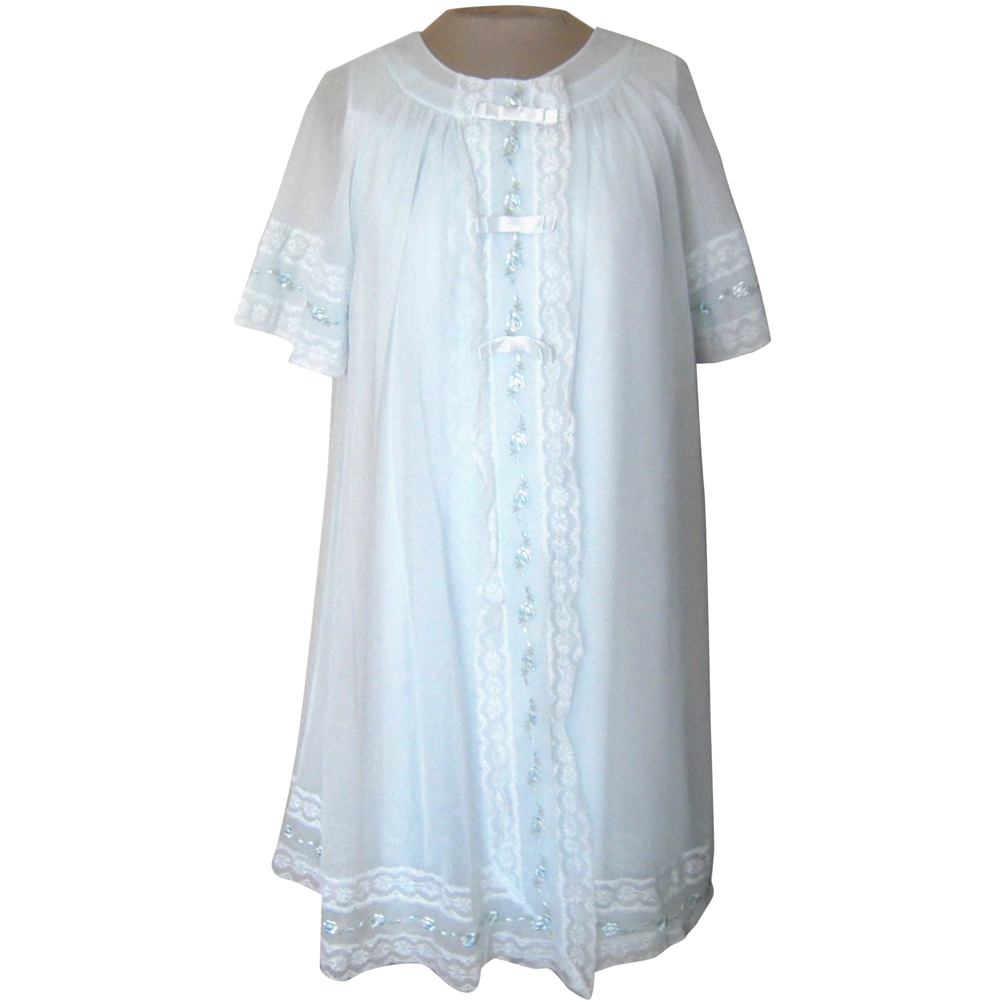 Vintage shadow line light blue short nightgown and robe with lace jpg  2068x2068 Light blue short a19ed7d25