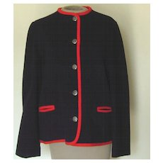 Vintage  Trachten AUS Osterreich von Macintosh NavyBlue with Red Trim Wood Jacket