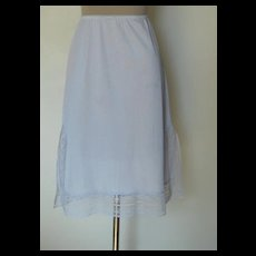 Vintage Blue-Gray Mel Lin Half Slip with Lace Down Both Sides