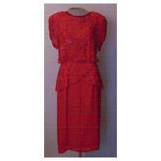 Red Silk Beaded Oleg Cassini Silk Dress