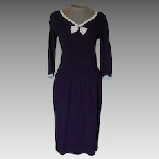 Vintage Navy Dress with Off-White Trim by Adrienne Vittadini