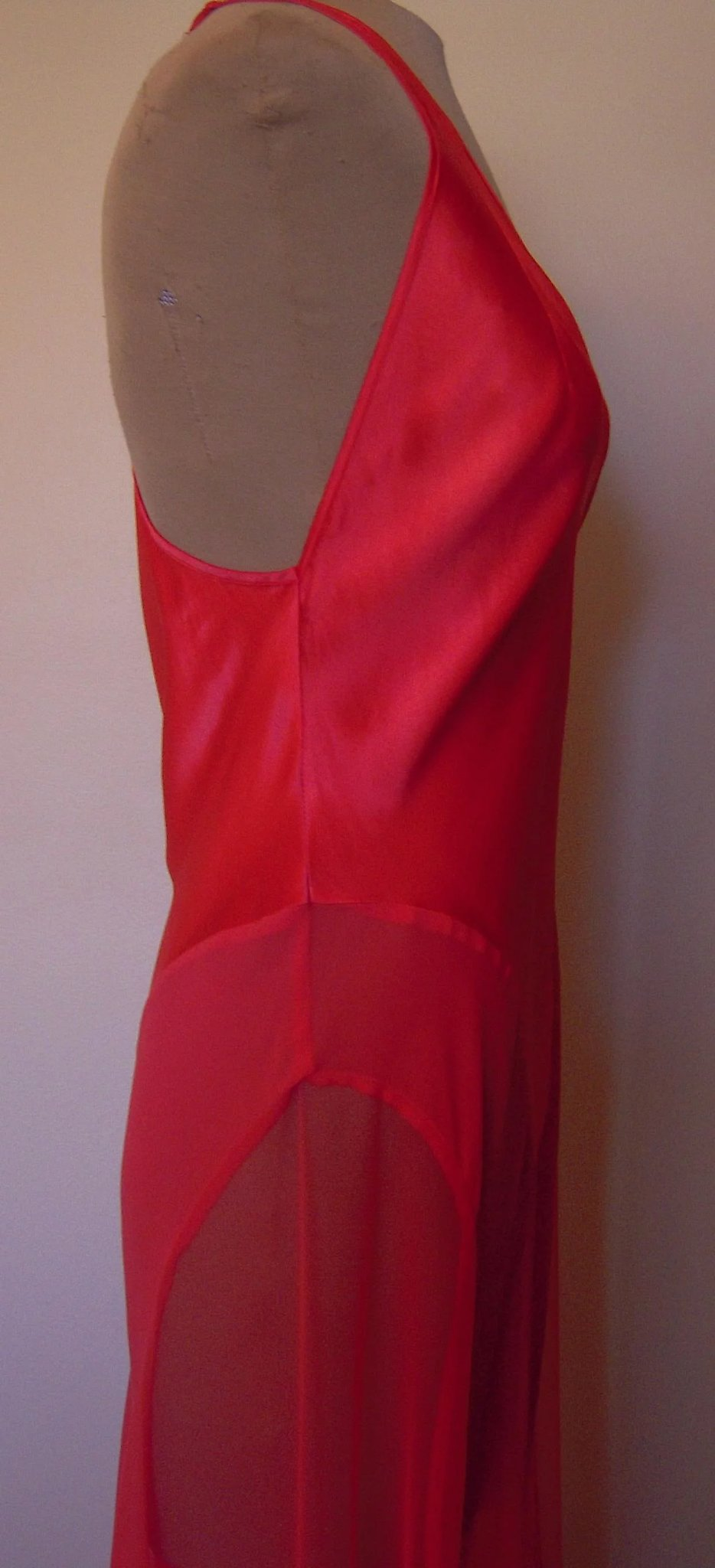 Red Long Silk Victoria Secret Nightgown with Netting on the Side ...