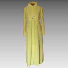 Yellow Robe with White and Green Leaves and Small Lace Trim
