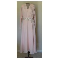 Vintage Light Pink Dress with Sequinned Waist