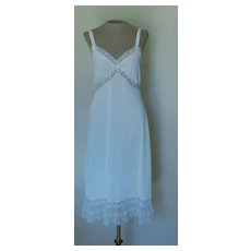 Vintage Light Blue Slip with Accordion Pleats and Lace