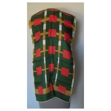 Vintage Echo Long Silk Scarf with Colors of Green,Gold and Orange that is Hand Rolled and Hemmed