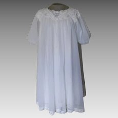 Vintage White ShadowLine  Nightgown and Robe Set with Lace and Embroidered Roses