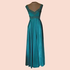 Vintage Teal Lacy Cameo Long Nightgown