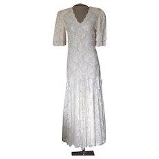 Lawrence Kazar Off-White Beaded Dress