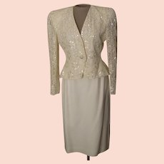 Vintage Nolan Miller Of-White Suit with a Lace ,Beaded and Sequined Jacket Made in Hong Kong.