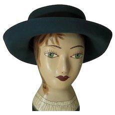 Vintage Dark Teal Green and Black Trim Bollman Felt Hat