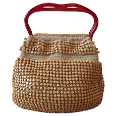 Tan Woven Purse with Wood and Plastic Handles