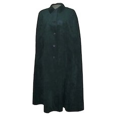 Vintage Molly Parnis  Dark Green Ultra Suede Cape and Matching Matching Skirt