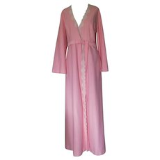 Salmon- Colored ShadowLine Long Robe with White Lace