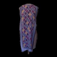 Silk Scarf with Colors of Steel Blue,Eggplant,Navy Blue, Mustard and Black