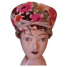 Vintage Bright Colored Floral Chenille  Tapestry Hat