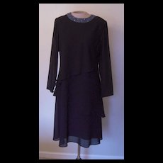 Vintage Black Julian Wilder by Ann Hobbs Dress with Beaded Collar