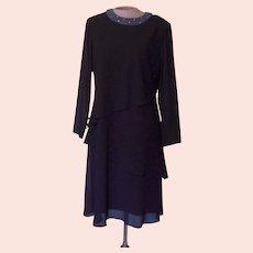 Vintage Black Julian Wilder by Ann Hobbs Dress with Beaded Collar