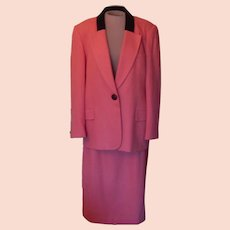 Vintage Wool Oleg Cassini Burnt Coral Color Suit  with a Black Velvet Collar.
