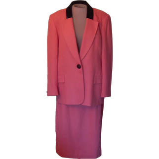 Vintage Wool Oleg Cassini Burnt Coral Color Suit  with a Black Velvet Collar.