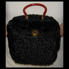 Vintage Black Velvet Muff Purse with Plastic Handle