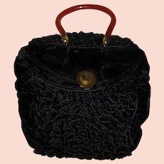 Vintage Black Velvet Muff Purse with Plastic Handle