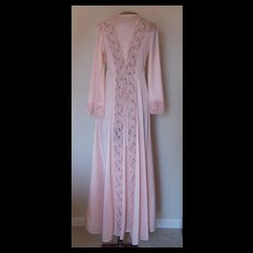 Vintage Llise Stevens Peach Robe with Lace Panels