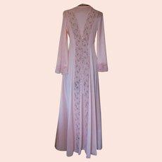 Vintage Llise Stevens Peach Robe with Lace Panels