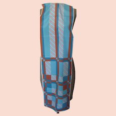 Vintage Veresa  by Vera Scarf with Colors of Burnt Orange ,Turquoise and Light Blue