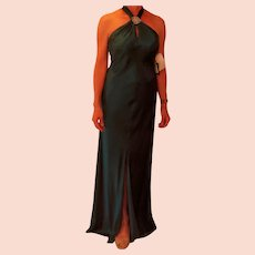 Long Teal Green Sleeveless Silk Dress with Tags Attached