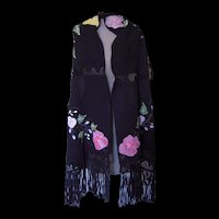 Black Shawl with Handpainted Flowers and Crochet