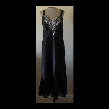 Linea Donatella Black Nightgown with Flounce and Silver Bodice