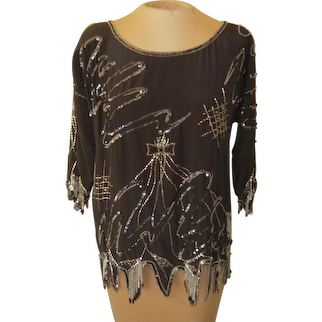 Vintage Black Silk Top with Sequins and Beading