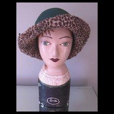 Vintage Mr. John Felt Hat with Leopard Trim