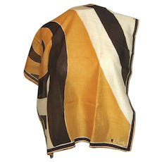 Vintage Vera Scarf  with Black, off-White and Gold-Brown Colors