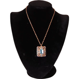 Vintage Coro Turquoise and Gold Colored Necklace