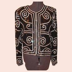 Vintage Silk Lawrence Kazar  Black and White Sequined JAcket