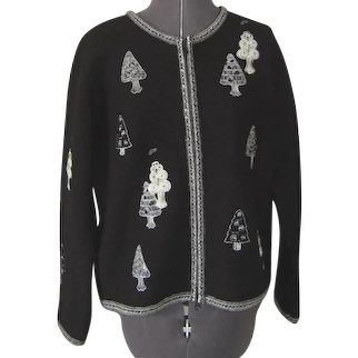 Vintage Susan Bristol Black and White Wool Christmas/Winter Jacket
