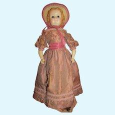 """1860's – 1870's Rare 20"""" Wax over Paper Mache Doll"""