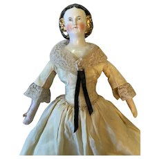 """18"""" Mary Todd Lincoln China head doll 1860 to 1865"""