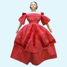 "Circa 1850s-1860s Brown Eyes Covered Wagon China Doll 22"""