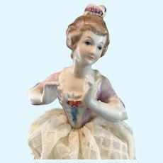 Circa 1920s China Half Doll Pin Cushion 10 ½""
