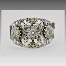 Vintage Art Deco Souvenir Cuff Silver Plate Bracelet