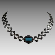 Art Deco Egyptian Revival Turquoise Glass Necklace 1920s